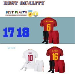 Wholesale Rubber Shirts - 2017 TOTTI DE ROSSI third Jerseys Rubber Serie A PJANIC DZEKO home away 17 18 Romas soccer kits shirts