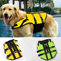 Wholesale Swimwear Life - Dog Pet Water Swimming Life Vest Jacket Clothes Preserver Breathable Dog Life Jacket Vest Safety Swimwear Size S,M,L Green Yellow JJ0120