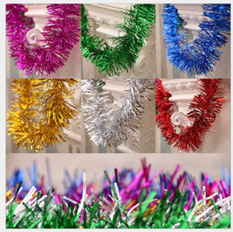 Wholesale Wholesale Christmas Tinsel Garland - 100 pcs Lot Christmas Tree Decoration 100 Strings 1.8m Ornaments Golden Silvery Christmas Garland Tinsel Bar Garlands New Year Decoration