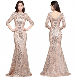 Wholesale Luxury Mermaid Evening Dresses - 2018 Special Design Rose Gold Designer Occasion Dresses Mermaid Long Sleeves Full Sequins Lace Evening Dress Luxury Prom Party Gowns CPS634