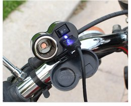 Wholesale Motorcycle 12 Usb - 2 in 1 Motorcycle USB Charger Adaptors 2 in 1 Socket YF122 12 24v Black Universal Interface Motorbike Phone Charger Cigarette Lighter