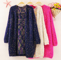 Wholesale Long Mohair Cardigan - Wholesale-2016 new winter fashion mohair sweater knit cardigan wave