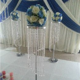 Wholesale wholesale led crystal frames - acrylic crystal wedding decoration metal crystal stand centerpiece flower shelf Road lead frame H120cm(Not include flower)