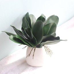 Folhas de orquídea on-line-Real Toque Phalaenopsis Folha Artificial Planta Folha Flores Decorativas Material Auxiliar Flor Decoração Orquídea Deixa 10 pcs