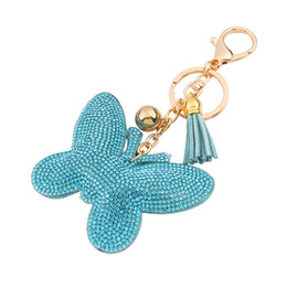Wholesale Man Yellow Diamond Ring - 2016 Fashion Key ring pendant Accessories Minimalist fashion candy colored diamond-studded leather tassels lovely butterfly keychain pendant