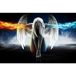 Wholesale Fantastic Paintings - Beauty Fantastic Angel Full Drill DIY Mosaic Needlework Diamond Painting Embroidery Cross Stitch Craft Kit Wall Home Hanging Decor