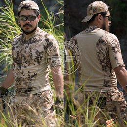 Wholesale Browning Tee Shirts Hunting - Men's Military Tactical Camouflage Quick Dry t-shirt Airsoft Hunting Outdoor Sports Cycling Camping Hiking Fishing Tees