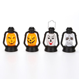 Wholesale Decorative Pumpkins - Halloween Nightlight Funny Pumpkin Ghost Face Laughter Lantern Portable Layout Small Light Decoration Hand Lamp Kid Toy 2 7ps F R