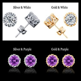 Wholesale Gold Ring Cz Crystal - Band New Crown Wedding Stud Earrings For Women 2016 New 925 Sterling Silver CZ Simulated Diamonds Engagement Jewelry Crystal Ear Rings