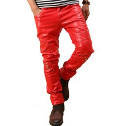 Wholesale Punk Rock Pants Zippers - Wholesale-Men`s Punk Rock Red Studded Leather Motorcycle Hip Hop Hipster Night Club Biker Pants With Zippers Male