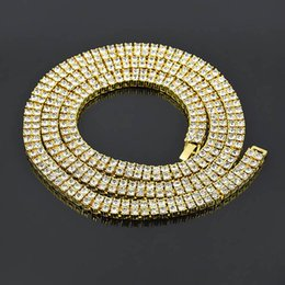 Wholesale Women Necklace Row - Punk Rock Two Rows Shiny Large AAA+ Rhinestone Necklace Sets MIAMI CUBAN LINK Exaggerated Hip Hop Bling HIP-HOP Men Women Chains 3 Colors