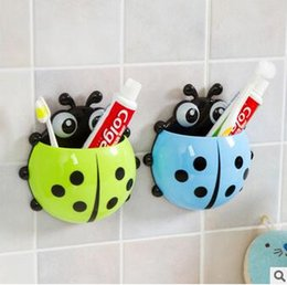 Wholesale Green Toothbrushes - 4Pcs New Cute Cartoon Toothbrush Holder Yellow Red Blue Green Ladybug Sucker Suction Hook Tooth Brush Holder Bathroom Accessories