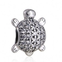 Wholesale Turtle Charms For Bracelets - Sea Turtle Charm Beads Authentic 925 Sterling Silver Pave AAA CZ Animal Beads For Jewelry Making DIY Brand Bracelets Accessories HB323
