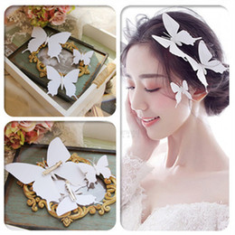 Wholesale Hair Pins Wedding Butterfly - Wedding Bridal Bridesmaid Handmade White Butterfly Hairpin Headdress Bridal Bridesmaid White Butterfly Hair band Hair Jewelry Accessories