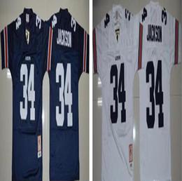 Wholesale Tiger Sleeveless - Free Shipping 34 Bo Jackson Auburn Tigers Men Jerseys White Navy Blue Mens College Football Throwback Jersey