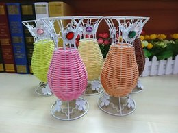 Wholesale Wholesale Wire Baskets - 5pcs Rhinestone Beads Mixed Rattan Wire Flower Basket Vase Vases Storage For Wedding Party Homes Garden Office Decoration