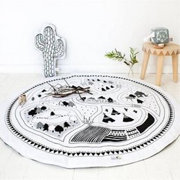 Wholesale Gym Baby Pad - Wholesale- Round Carpet Game Pad Kids Playmats 97CM Baby Kids Crawling Blanket Gym Play Mat Children Indoor Playing Toys Decoration Gift