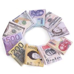 Wholesale Dollar Bill Wallets - New Arrival Men's World Cur cy Bill Wa llet Bifold PU Leather Money Wlets Short Purse USD Dollar Pound Card Holder Children Kids Gifts