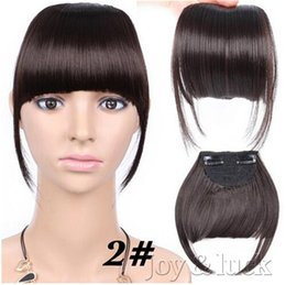 Wholesale Hair Extentions Clips - New Neat Front False Fringe Clip In Bangs Hairpiece High Temperature Texture Synthetic Hair Extentions Joy&luck