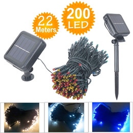 Wholesale Solar Lights Outdoor Wedding - Wholesale-22M 200 LED Solar Lamps LED String Fairy Lights Garland Christmas Solar Lights for wedding garden party Decoration Outdoor