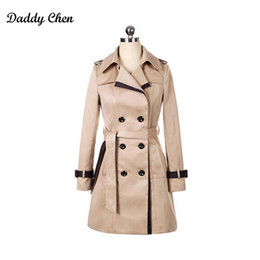 Wholesale Spring Trench Coats For Women - Wholesale- Especially long trench coat for women Double Breasted Slim female Wind breaker sashes Outerwear Spring burderry trenchcoat 2017