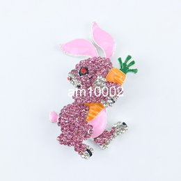 Wholesale Pearl Bunny - Free shipping 50pcs  lot 50mm Lead & nickle free Rhinestone Pink Bunny brooch rabbit jewelry broach pins