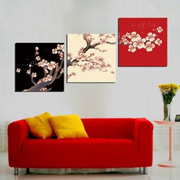 Wholesale Traditional Chinese Teapot - Free shipping unframed 3 Pieces picture Canvas Prints branch Cartoon flower Chrysanthemum Plum butterfly bird chinese characters teapot