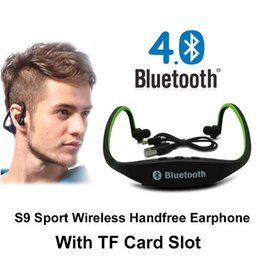 Wholesale Wireless Ear Pieces - Bluetooth Headphone S9 Wireless Stereo Headset Sports Bluetooth Speaker Neckband Earphone Bluetooth 4.0 With Package 20 Pieces UP
