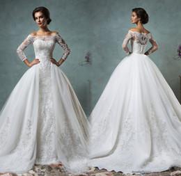 Wholesale Detachable Shirt Lace Wedding Dress - 2016 Full Lace Wedding Dresses Vinatge Bridal Gowns Detachable Skirt Amelia Sposa Cheap Sheer Long Sleeves Overskirts Wedding Gowns Vestido