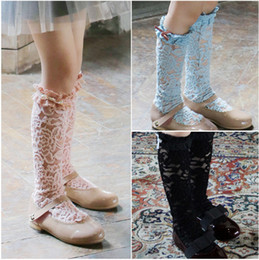 Wholesale Baby Girl Stockings Pink - 2016 new children socks Princess Baby Girls Lace Socks Children Clothing Bowknot Baby Clothes Yarn Long Sock Stocking Blue Pink Black A8104