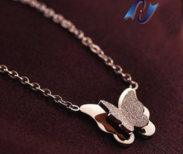 Wholesale Rose Gold Necklace Set Heart - Trendy Rose Gold Titanium Steel Female Necklace Elegant Matte Double Butterfly Set Pendant Necklace For Women Jewelry Gift