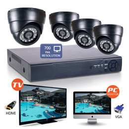 Wholesale High Resolution Dome - 4CH H.264 Security DVR NVR HD Wide Angle 700TVL CMOS 24IR 3.6mm CCTV Cameras high resolution system IP camera indoor email alert