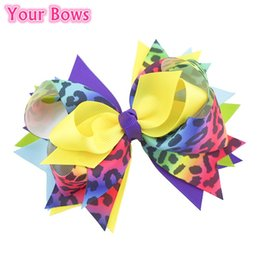 Wholesale Leopard Ribbon Wholesale - Wholesale- 1PC 5.5 Inch Rainbow Color Leopard Grain Hair Bows Baby Girl Headbands Grosgrain Ribbon Bows Hairpins Baby Girl Hair Accessories