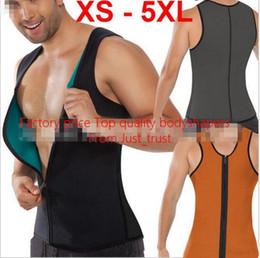 Wholesale Men Hot Shaper - 2016 Hot Men Ultra Sweat Cincher bodyshapers zipper vest shaper corset slimming Burnning fat Neoprene Rubber Latex men's Bodyshaper