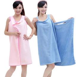 Wholesale Shower Robes - Magic Bath Towels Lady Girls SPA Shower Towel Body Wrap Bath Robe Bathrobe Beach Dress Wearable Magic Towel multi color