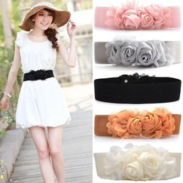 Wholesale Elastic Rose Belt - Wholesale- Women Lady Buckle Waist Belt Muti-color Flowers Elastic Rose Wide Bowknot Waistband Belt