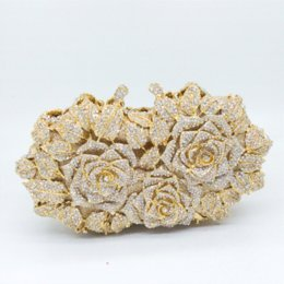 Wholesale Single Boxed Rose - Gift Box Packed Women Gold Plating Rose Flower Hollow Out Crystal Evening Metal Clutches Small Minaudiere Handbag Wedding Clutch