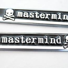 Wholesale Metal Sports Decals - Black Mastermind Skull Logo Blade Sticker Metal Emblem Fender Side Decal Wind 3D Shape Badge Knife For TRANSFORMERS SPORT