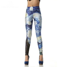 Wholesale Van Gogh Prints - Women leggins 3D Digital Van Gogh Starry Night Galaxy Print Women Leggings