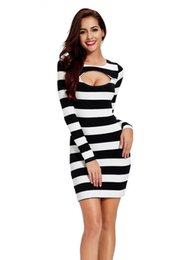 Wholesale Black White Striped Mini Dress - Bodycon Sexy Club Party Women Dresses White Black Stripped Vestidos De Fiesta Long Sleeves Autumn Winter Elegant Casual Dress FS0417