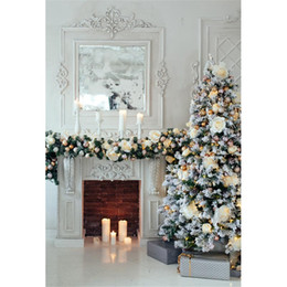 Wholesale Christmas Backdrops For Photography - Indoor Fireplace Photography Backdrop Vinyl Fabric Decorated Christmas Tree Candles Flowers Kids Children Background for Photo Studio