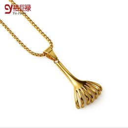 Wholesale Small Angels Sale - 2016 New Hot Sale 18K Gold Plating Small Shinning Gold Plated Rake Pendant Necklace Hip Hop Fashion Jewelry For Women Men Rake