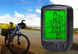 Wholesale Speedometer Backlight - Wholesale-Waterproof LCD Backlight Display Wired Bicycle Speedometer Computer Odometer Bike Stopwatch & 2 Sets Lot Free Shipping