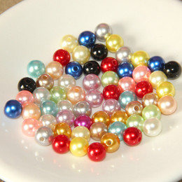 Wholesale Glass Bead Necklace Wholesale - Wholesale Mixed Color Imitation Pearl Loose Beads 4mm 6mm 8mm 10mm 12mm 14mm Round Plastic Pearl Beads for Jewelry Making Craft DIY Necklace