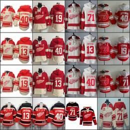 Wholesale Detroit Sweatshirt - Detroit Red wings Hockey Men Jerseys 71 Dylan Larkin 19 Steve Yzerman 13 Pavel Datsyuk 40 Henrik Zetterberg Hoodie Hooded Sweatshirt
