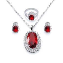 Wholesale Gp Jewelry China - Flaming Ruby Pendant Necklace Stud Earring and Finger Ring Set Women's 18k White Gold Plated GP Party Jewelry Set Present