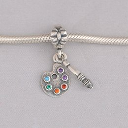 Wholesale Colored Beads For Bracelets - Authentic 925 Silver Beads Artist's Palette Dangle Charm, Multi-Colored CZ For European Bracelet Bangle Diy Jewelry Gift