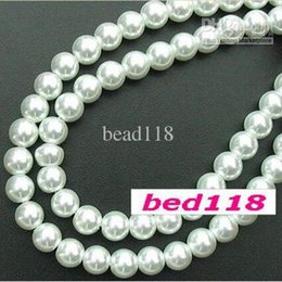 Wholesale 6mm Round Glass Beads Wholesale - MIC 280pcs 6mm Round Glass Pearl Jewelry Spaced beads White for beaded bracelet DIY jewelry