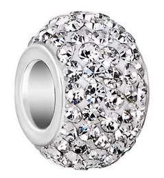 Canada 50 pcs / lot 10mm * 12mm blanc couleur mélangée strass argent plaqué résine noyau gros trou cristal européen perles, perles lâches résultats de bracelets. supplier resin european mix bead Offre