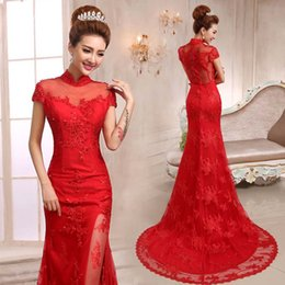 Wholesale Black White Chinese Dresses - Chinese Bridal Dresses 2016 Red Sheer High Neck Appliques Capped Sleeves Mermaid Wedding Gowns Lace Tulle China Traditional Brides Dress